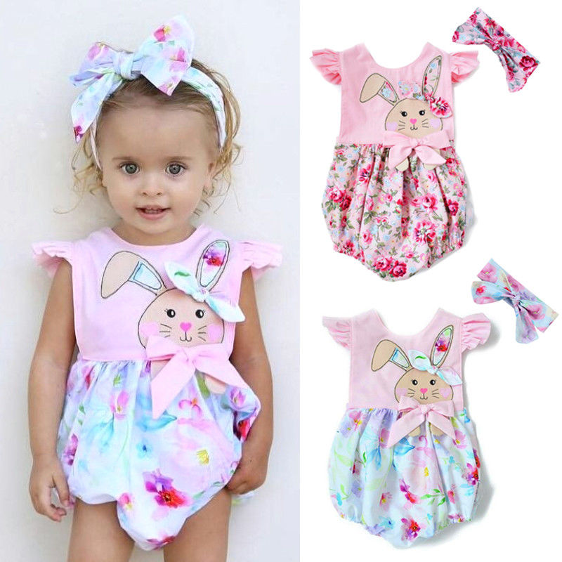Easter Outfit Newborn Baby Girl 2pcs Ruffles Short Sleeve Bunny Floral Backless   Romper   Headband Infant Girls Clothing Set