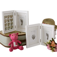 Cute Baby Kids Diy Imprint Handprint Footprint Photo Picture Frame With Soft Clay Decoration Novelty Gift For Household Decor