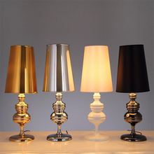 Artpad EU/US Plug in Modern Table Lamps for the Bedroom Gold Silver Black White Lampshade LED Standing Living Room