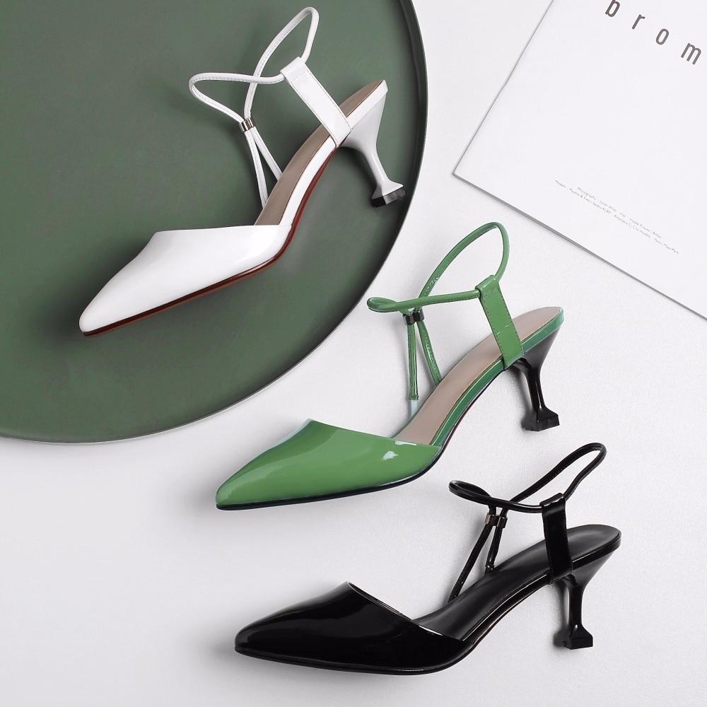 Zapatos Cuero De Verde Del Embalaje Mujer Dedo Alto Sandalias Cm 8PONnwX0k