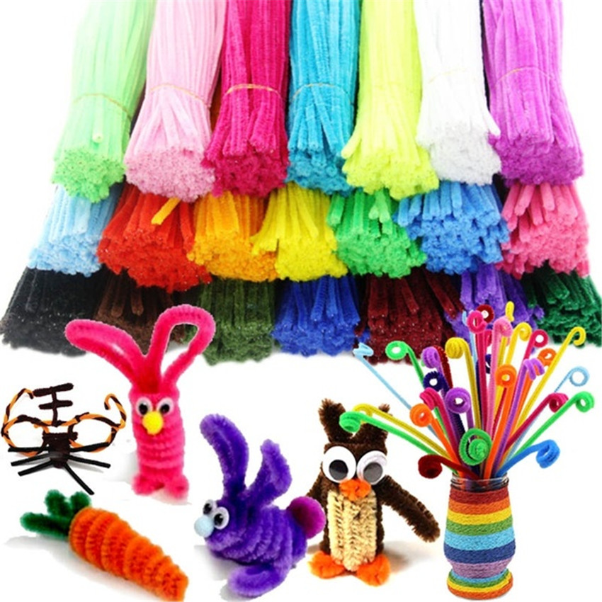 New 50/100pcs Montessori Material Chenille With Accessories Crafts For Kids Handmade Art Colorful Pipe Cleaner DIY Education Toy