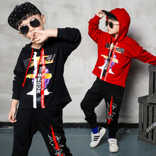 Children's clothing boy suit spring and autumn 2019 new cotton hooded sports long-sleeved sweater + pants цены