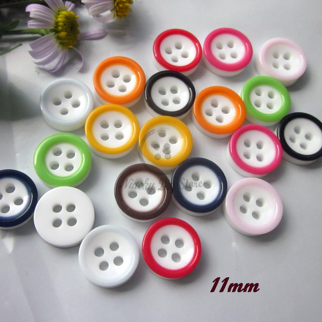 100pcs 4 holes 11mm Mixed   1 color colorful edge sewing buttons for  clothing scrapbooking diy craft decorative materials ed56dd9b139f