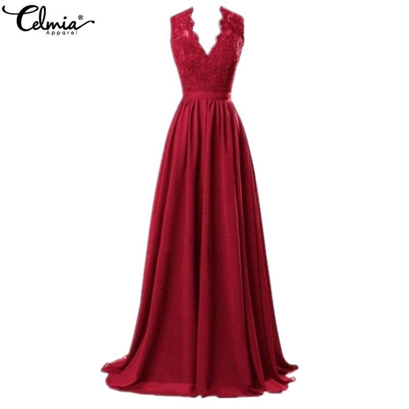 Женское летнее платье, большие размеры, 2019, сексуальное, с глубоким v-образным вырезом, без рукавов, вечерние, красные, кружевные, элегантное ...