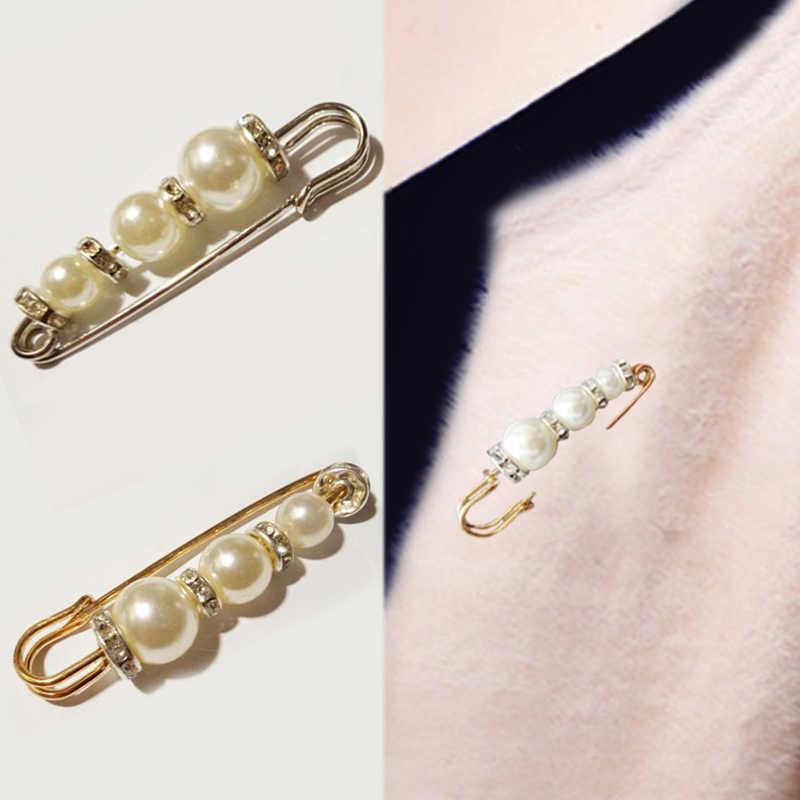 1 PC נשים בנות סיכת קוריאה ריינסטון כסף זהב פנינת קריסטל חתונה חצאית עסקי חליפת צעיף סוודר חג המולד מתנות