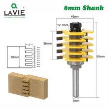 LAVIE 1pc 8mm Shank 3 ฟันปรับ Finger Joint Router Bit Tenon เครื่องตัดเกรดอุตสาหกรรมสำหรับไม้เครื่องมือ MC02038