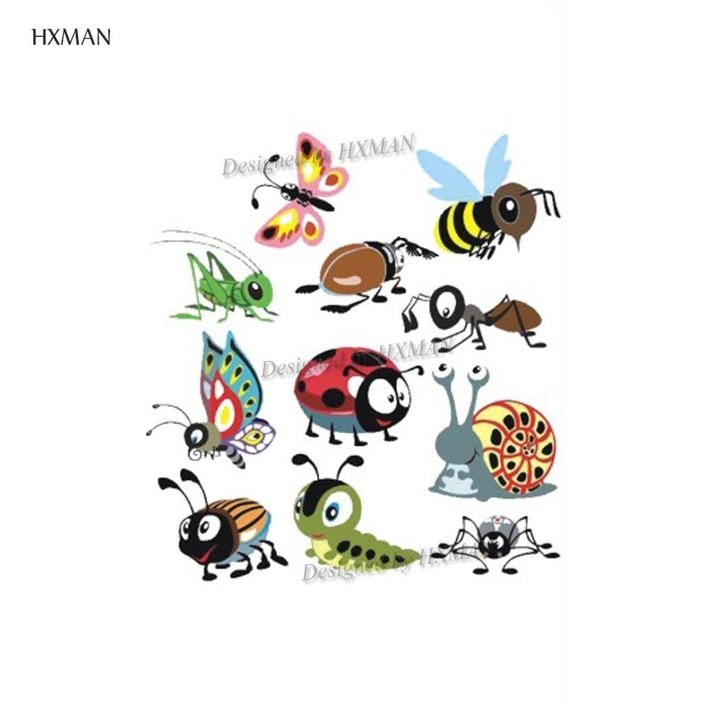 HXMAN Cartoon Animals Temporary Tattoo Sticker Waterproof Women Fashion Fake Body Art 9.8X6cm Kids Hand Tattoos Hot Design A-373
