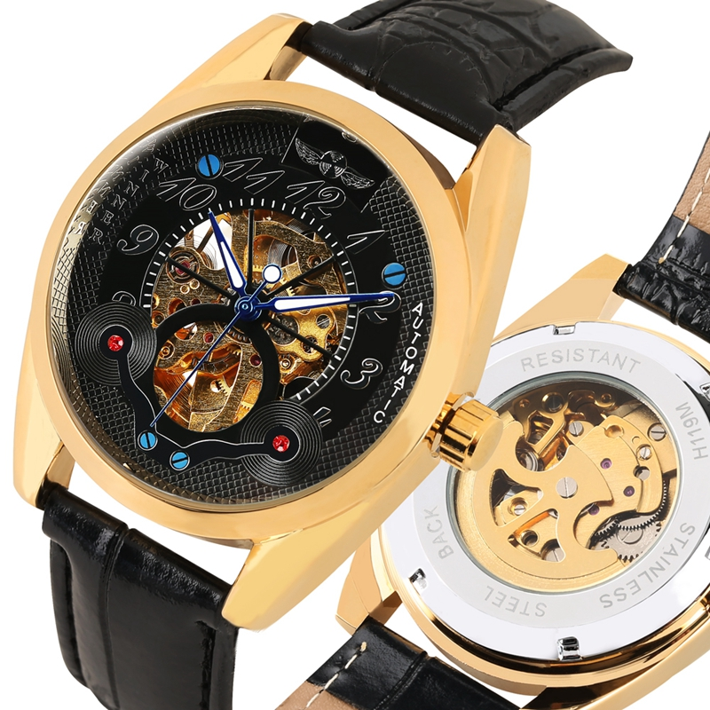 Automatic Mechanical Watch Men Clock Male Creative Ox Horn Design Dial Analog Military Business Wrist Watch Skeleton Wristwatch