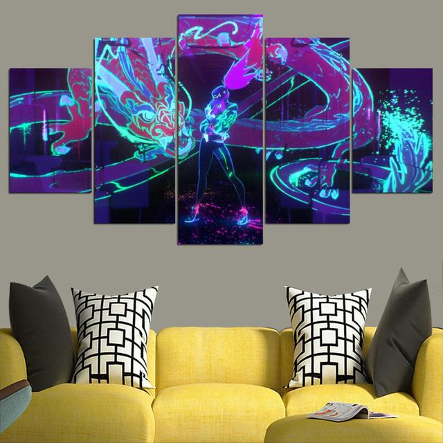 HD canvas printed painting 5 piece League of Legends KDA Akali Splash Art Home decor Poster Picture For Living Room YK-1226 2