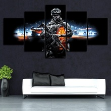5 Piece Battlefield Game Poster Special Force Pictures Modern Oil Painting Fantasy Wall Art Home Decor