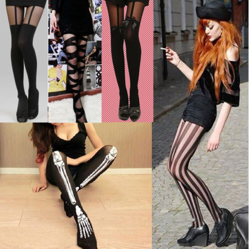 Women Black Mesh Pattern Stockings Hosiery Tights 2018 New Sexy Cross Stripe Pantyhose High Long Tights