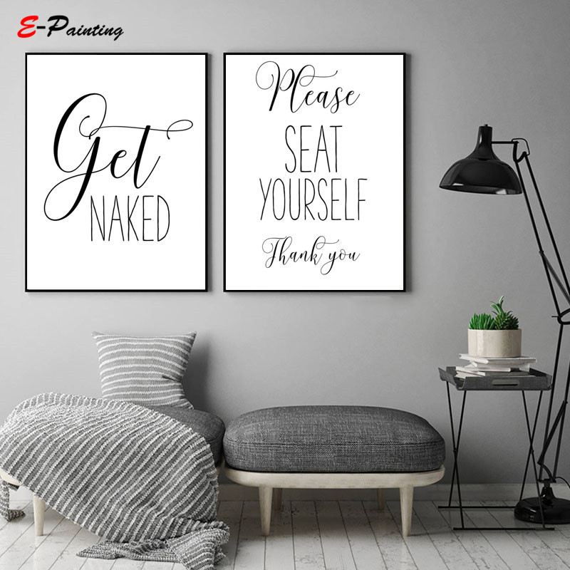 Do It Yourself Home Design: Modern Letter Canvas Painting Get Naked Please Seat