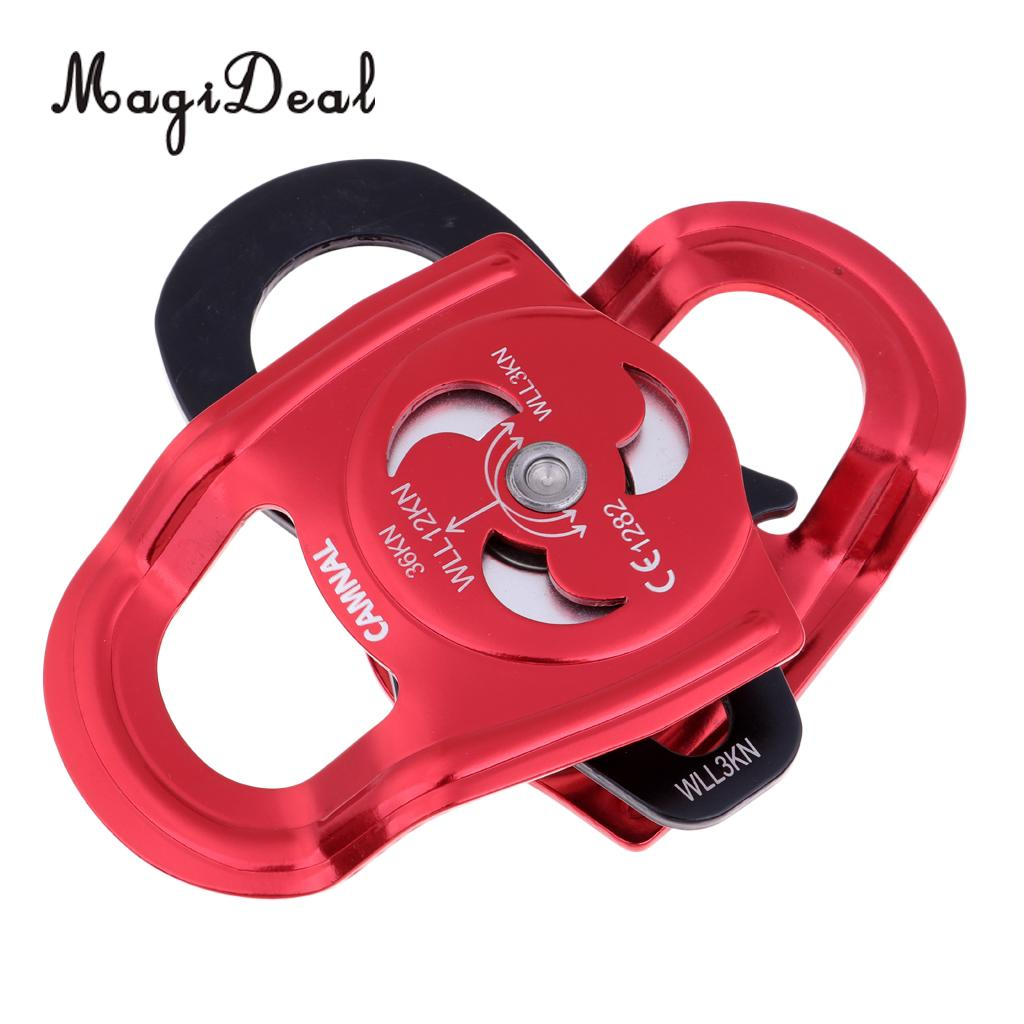 36KN Durable Aluminum Double Pulley Rock Tree Climbing Rope Access Equipment for Mountaineering Descending Hiking Construction p34 free shipping 36kn bearings from double magnesium aluminum alloy pulley for mountain climbing rappelling