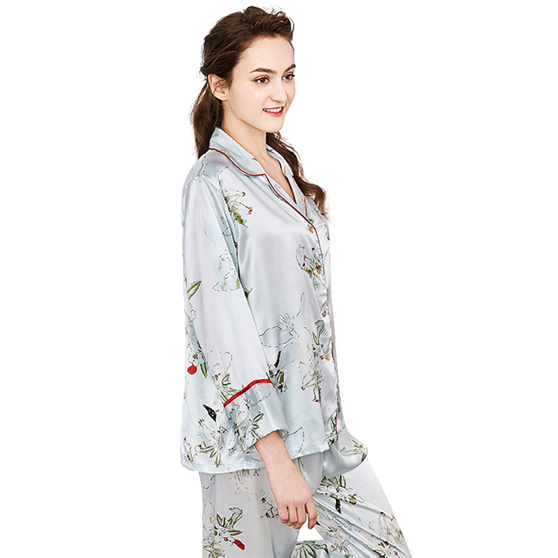 2019 Pajama Sets For Women Printing Sleepwear Femme Imitation Silk Long Sleeve Home Clothes 2 Piece Set Nightwear in Pajama Sets from Underwear Sleepwears