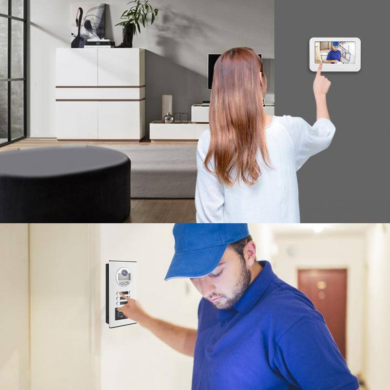 Willensstark 7 Zoll Video Intercom Türklingel Tür Telefon Rfid Kamera 3 Wohnungen Türklingel Sicherheit & Schutz
