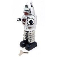 Mechanical Vintage Silver Wind Up Tin Toy Walking Clockwork Robot Retro Gifts