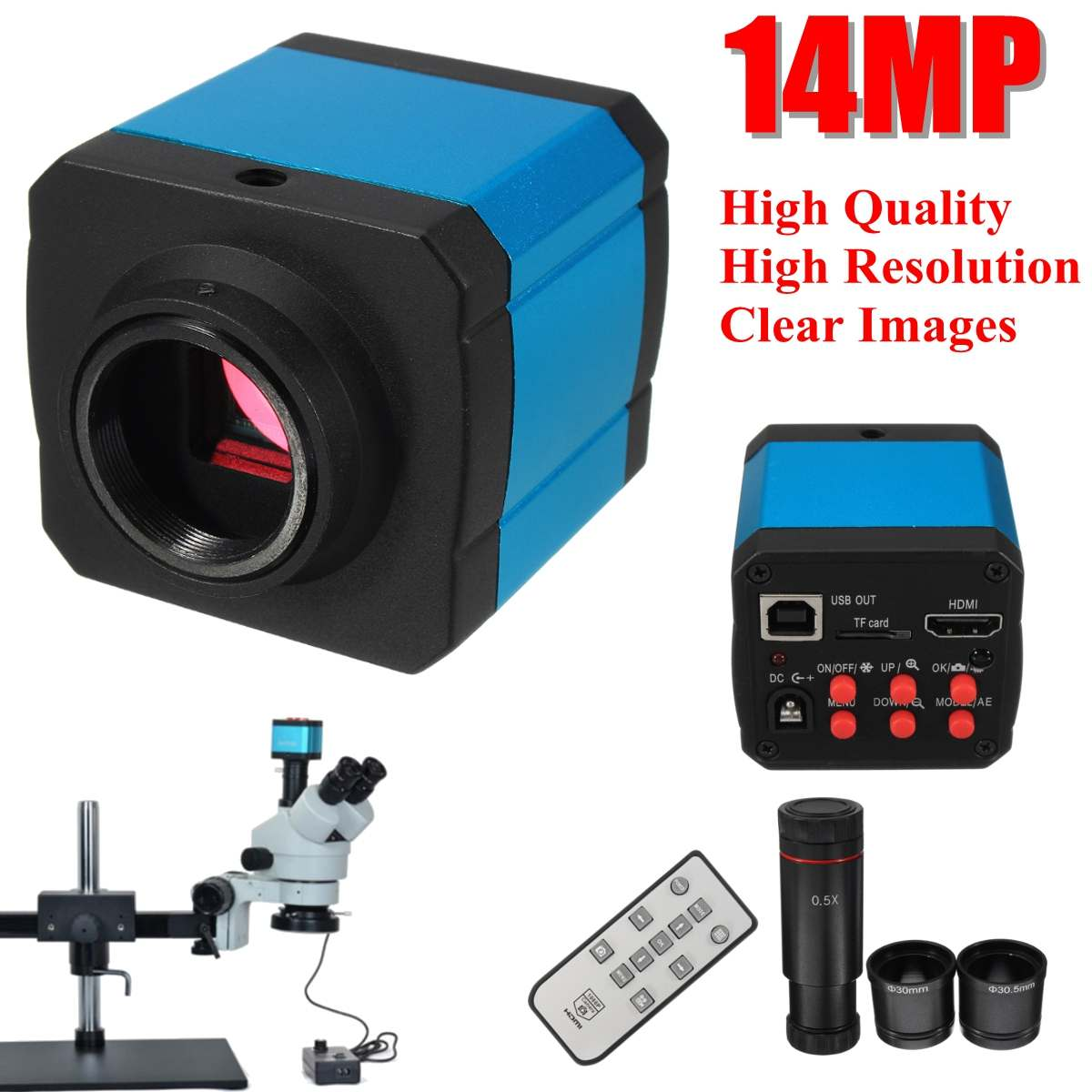 14MP 1080P Industry USB Stereo Microscope Camera with Eyepiece Lens Ad ter for Microelectronics Jewelry Phone Maintenance