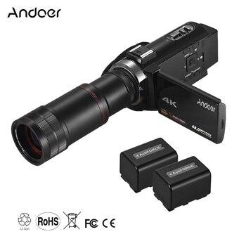 Andoer 4K HD Digital Video Camera Camcorder DV 16X Digital Zoom WiFi IR Night Vision with 2pcs Batteries 8X Telephoto Lens