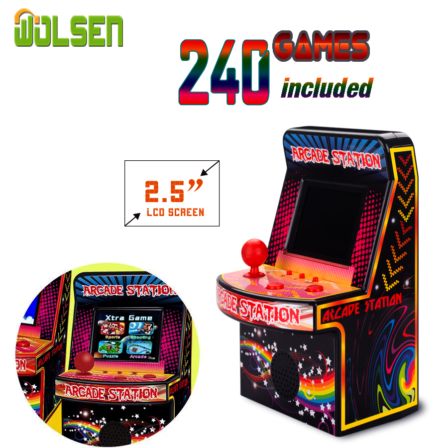 2.5'' Color Screen Mini Retro Arcade Classic Portable Arcade Station Game Built in 240 games Gaming System Childrens Tiny Toys