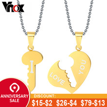 48cdf885d5 Vnox Key and Heart Necklace Sets Couple His & Hers Promise Stainless Steel  Jewelry