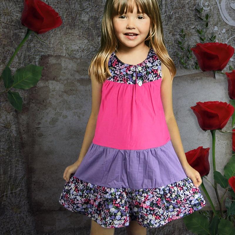 Girls Dress Summer Children's Dress Cotton Stitching New Fashion Baby Sweet Princess Dress Kids Floral Dress