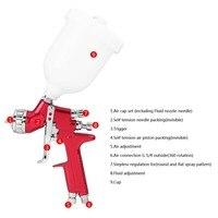 Car Spray Paint Airbrush Gravity Feed HVLP Paint Spray Gun Auto Paint Care Accessories 1.3mm Nozzle 600CC