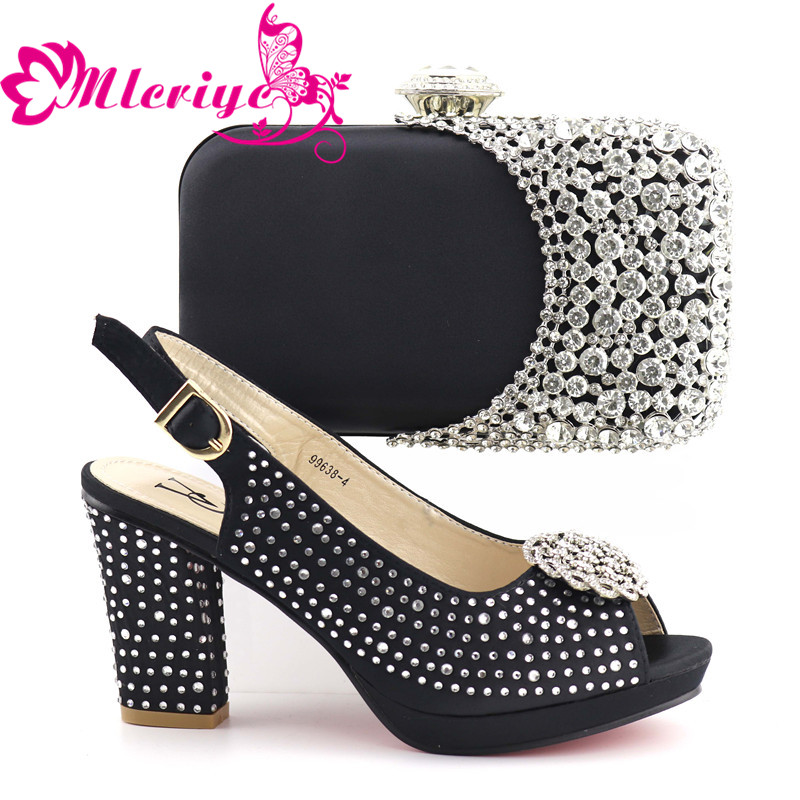 10119 Women Italian African Party Pumps Shoes and Bag Set Decorated with Rhinestone African Shoes for Women Nigerian shoe