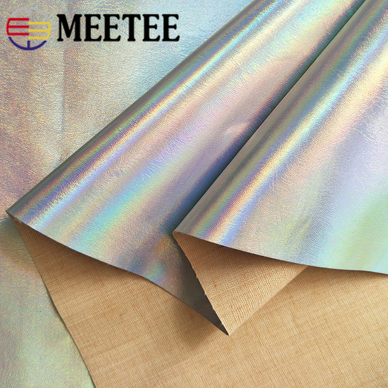 Meetee 50 138cm Silver Symphony PU Fabric Mirror Reflective Waterproof Fabric DIY Sewing Fluorescent Clothing Hat Bag Material in Synthetic Leather from Home Garden