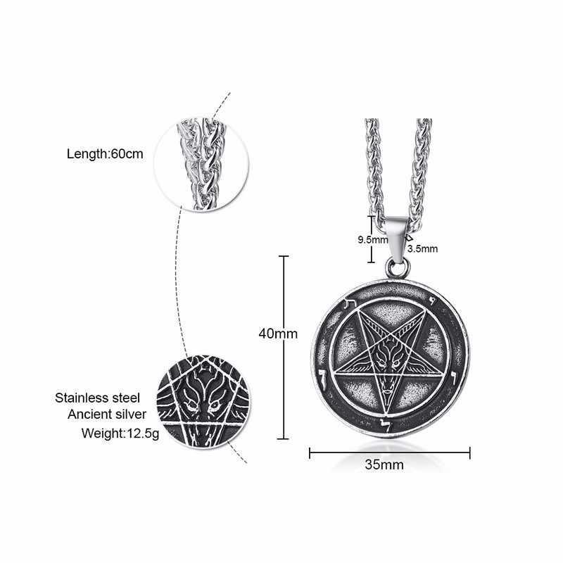 สไตล์ ASSORTED เครื่องประดับซาตาน Lucifer Pentagram Baphomet Amulet แพะซาตาน Wiccan Satanism จี้สร้อยคอสแตนเลส