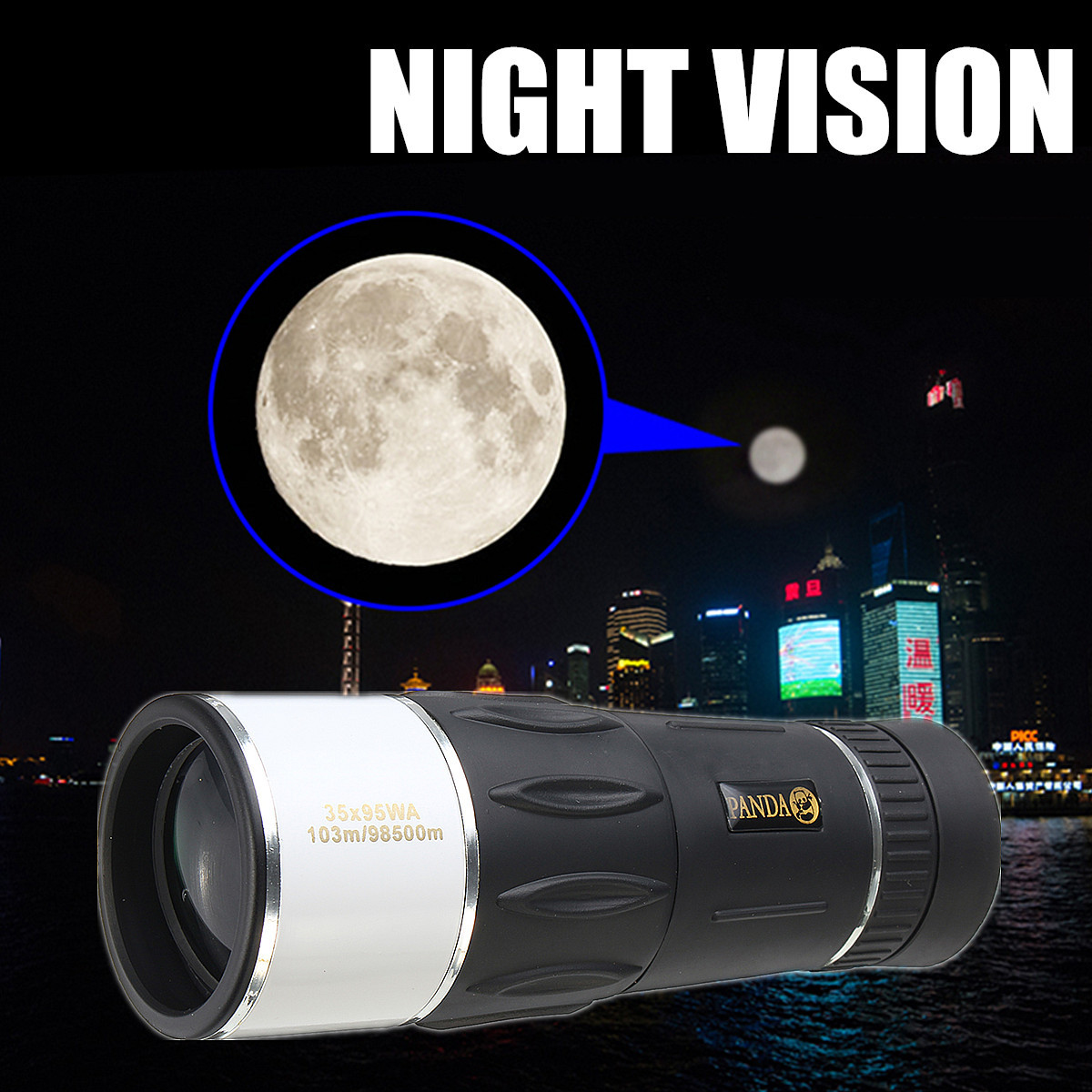 35x95 WA Night Vision Monocular Telescope HD Scope Adjustable Wide Angle Hunting Black+White Black High Light Transmittance35x95 WA Night Vision Monocular Telescope HD Scope Adjustable Wide Angle Hunting Black+White Black High Light Transmittance
