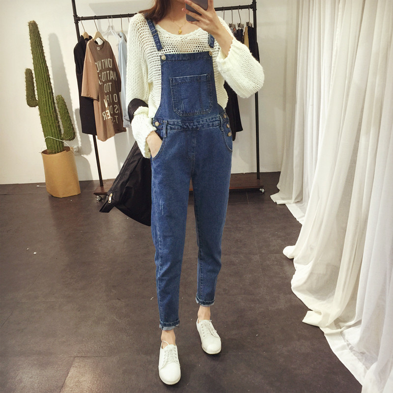 Fashion Suspender Jeans High Waist Pocket Denim Jeans with Chain Suspender Straight Jeans,White,S
