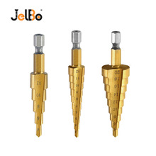 цена на JelBo Step Drill Bit Set Titanium Coated HSS Metal Hex Shank Drill Bits by Power Tool for Wood, Metal 3Pcs/Set 3-12/4-12/4-20mm