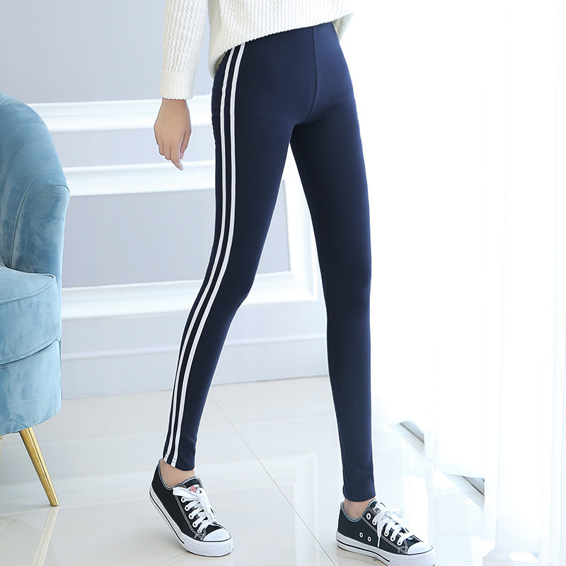 2019 Women Pure Cotton Spring Summer Light Pant Autumn Activewear Mid Waist Vertical Stripe Obviously Thin Ninth  Legging