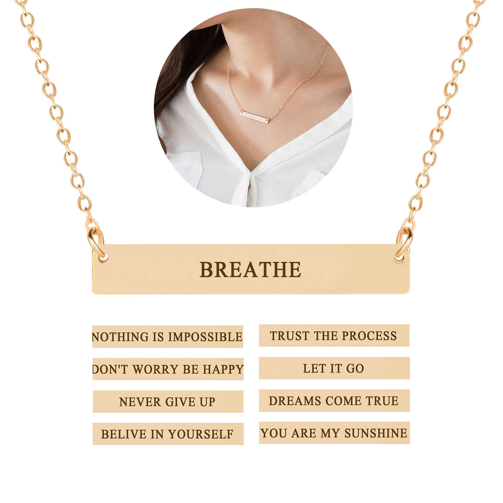 cafb097af Fashion Engraved Letter Necklace Pendant Clavicle Chain Charm Necklace  Inspirational Quote Men Women Jewelry Gift