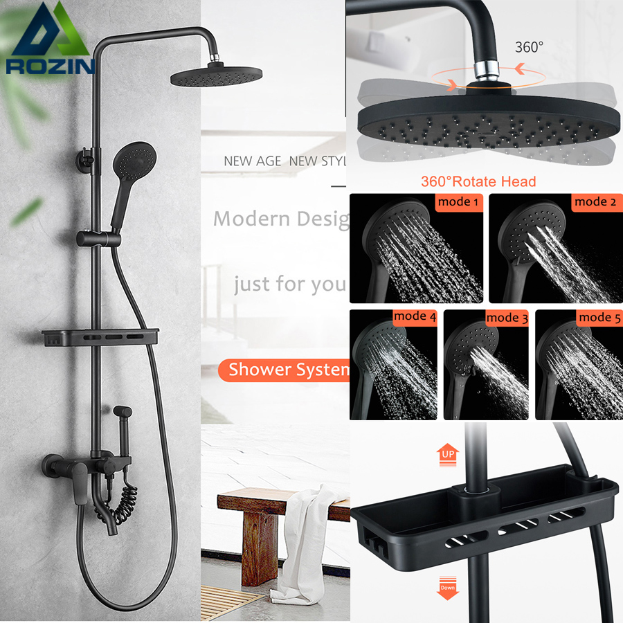 Matte black Bath Shower Faucet Set with Commodity Shelf Wall Mount Swive Spout Shower Mixers with