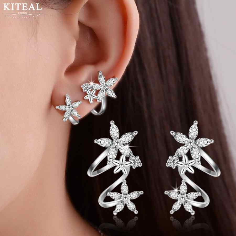 Kiteal New snowflake Flower CZ Zircon silver Stud Earrings Star 925 pendientes oorbellen boucle d'oreille Gift jewelry S-E329