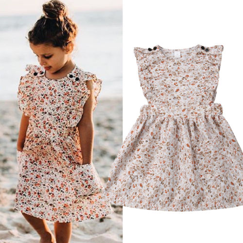 2-8T Toddler Kid Baby Girl Clothes Ruffle Floral Dress Holiday Tutu Princess Sundress