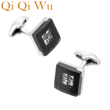 QiQiWu Black Acrylic Square Cufflinks for mens Wedding Mens Rhinestone Shirt Cuff Buttons Gifts for Men Silver Plated Cuff links