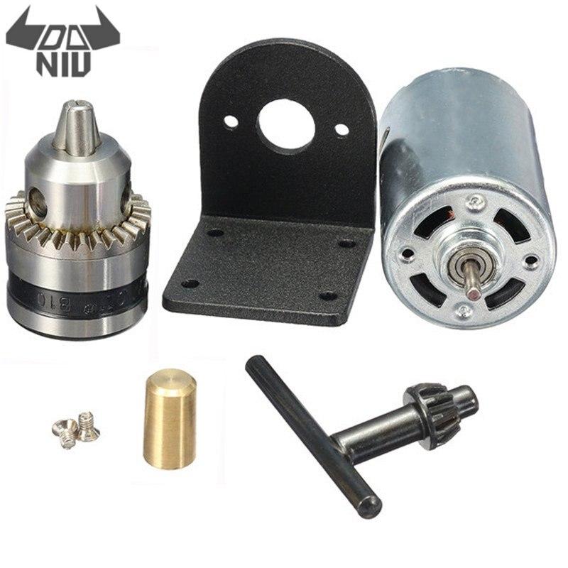 DANIU 0.6-6mm DC 12-36V Lathe Press 555 Motor With Miniature Hand Drill Chuck And Mounting Bracket DC Motor 3300RMP