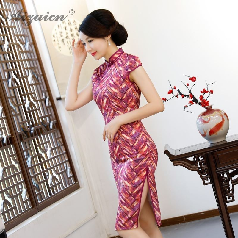 Summer Printing Long Cheongsam Dress Woman Chinese Traditional Clothing Qipao Double Layer Similar Silk Dresses Robe Orientale in Cheongsams from Novelty Special Use