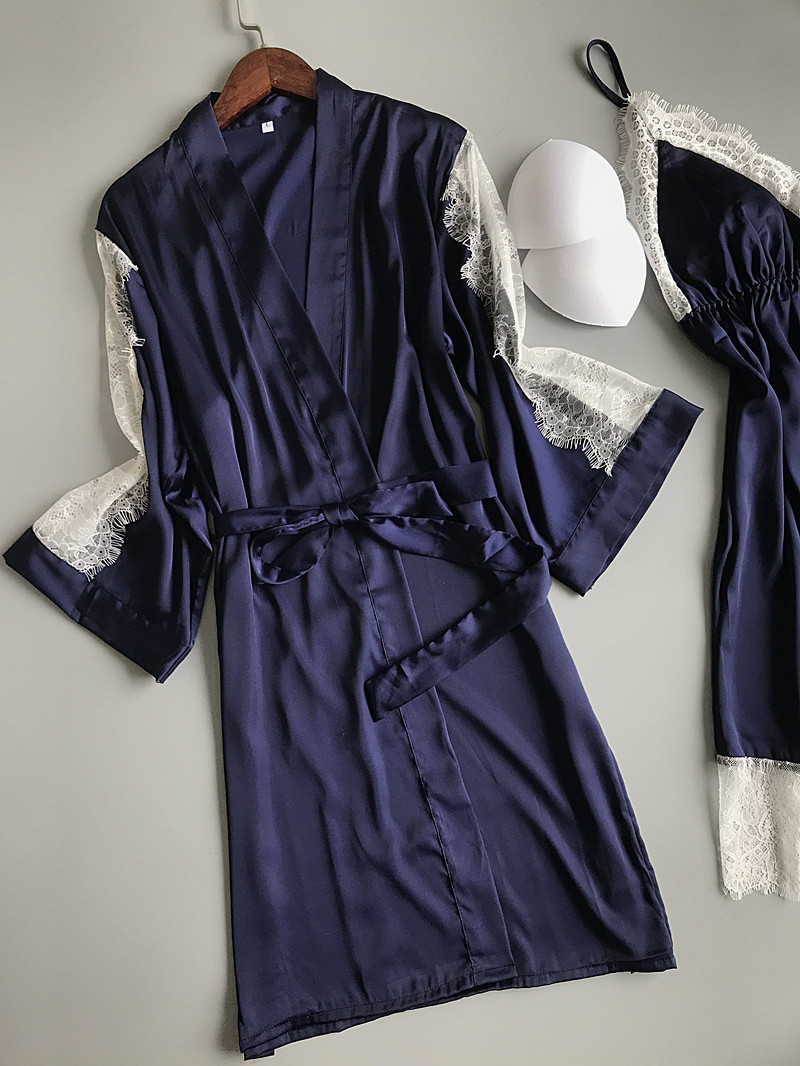 Image 5 - 2019 Summer Women Robe Gown Sets With Chest Pads Sexy Satin Bridesmaid Silk Sleepwear Lace Nightdress Sleeveless Dress Gown-in Robe & Gown Sets from Underwear & Sleepwears