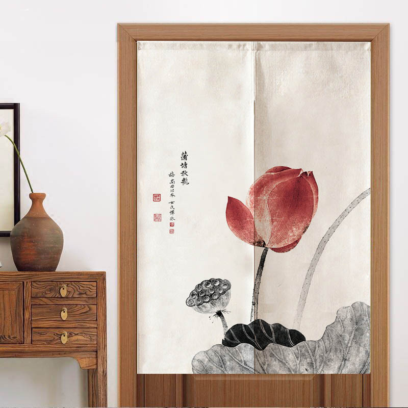 P Chinese Landscape Painting Door Curtain Entrance Valance Lotus Panda Pattern for Living Room Kitchen Bar Home Decoration