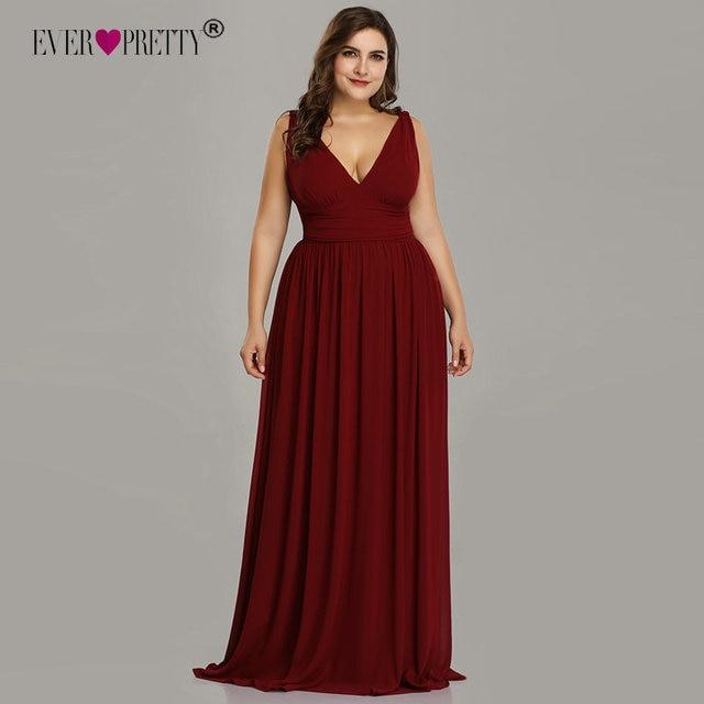 d57fa7167af Plus Size Bridesmaid Dresses Ever Pretty New Arrival A-line Chiffon  Burgundy V-neck Cheap Elegant Wedding Guest Dresses 2018
