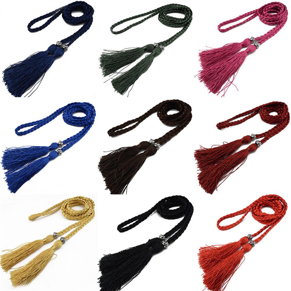 Women Bohemia Style Braided Tassel Belt Fashion Ladies Woven Knot Decorated Waist Chain Waist Rope Accessories