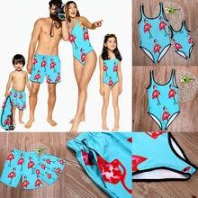 Цельный купальник-бикини с принтом Фламинго; одинаковые купальники для всей семьи; слитный купальник для мамы и дочки; шорты для папы и мальчиков
