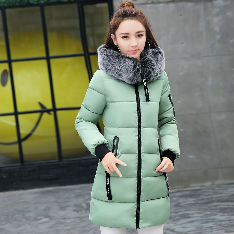 Hanqiyahuli Winter Coat Women Coats Jackets Winter   Parka   Women Long Slim Thickening Warm Female Outerwear Large Fur Collar