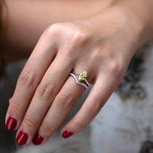 Image 5 - PANSYSEN 100% otantik 925 ayar gümüş Mariquesa şekil ametist yüzükler kadınlar için düğün yıldönümü taş yüzük