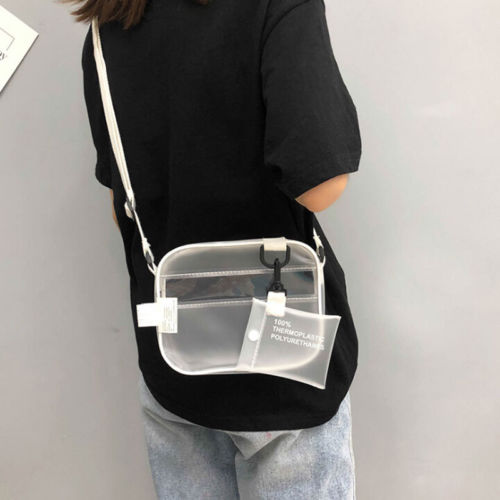 PVC Transparent Bag For Women Ladies Girl Fashion PVC Jelly Clutch Bag Leather Casual Handbags