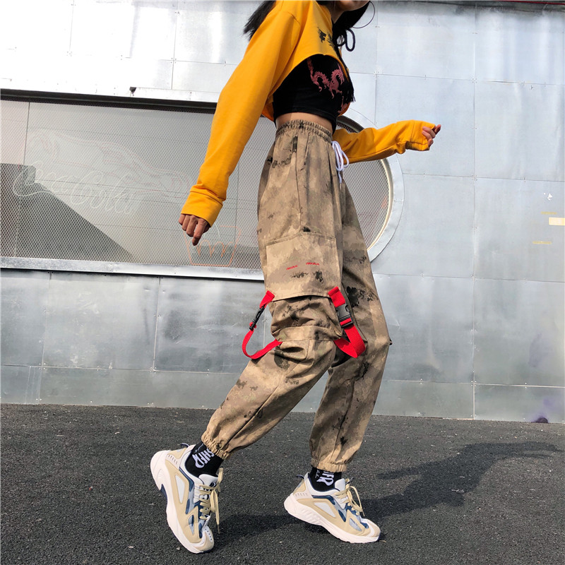 England Style Camouflage Spring Joggers Women 2019 Korean Fashion High Waist Cargo Pants Patchwork Loose Casual Harem Pants Thin image