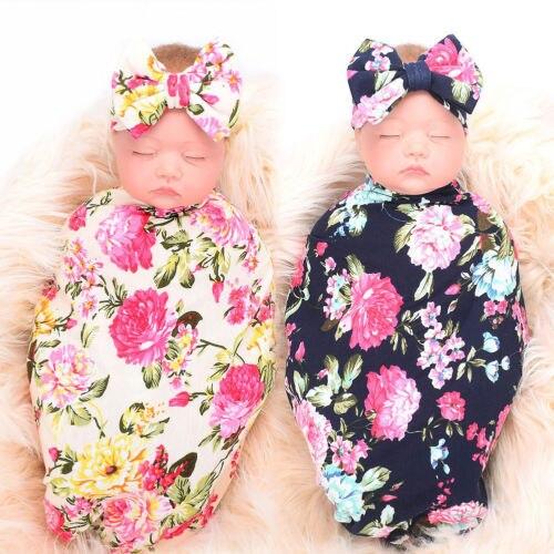 Newborn Baby Girl Receiving Swaddle Blanket Set Headband 2Pcs Sunsuit Toddler Kids Cotton Swaddle Blanket Bow Shawl Cloths Wrap
